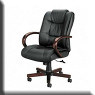 Basyx Leather U0026 Wood Office Chair